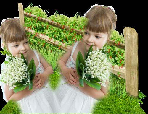 Tubes de muguet divers , fillettes avec bouquet , paniers
