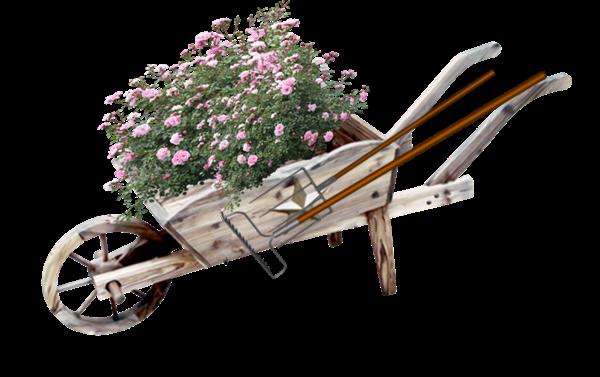 Tubes de brouettes fleuries
